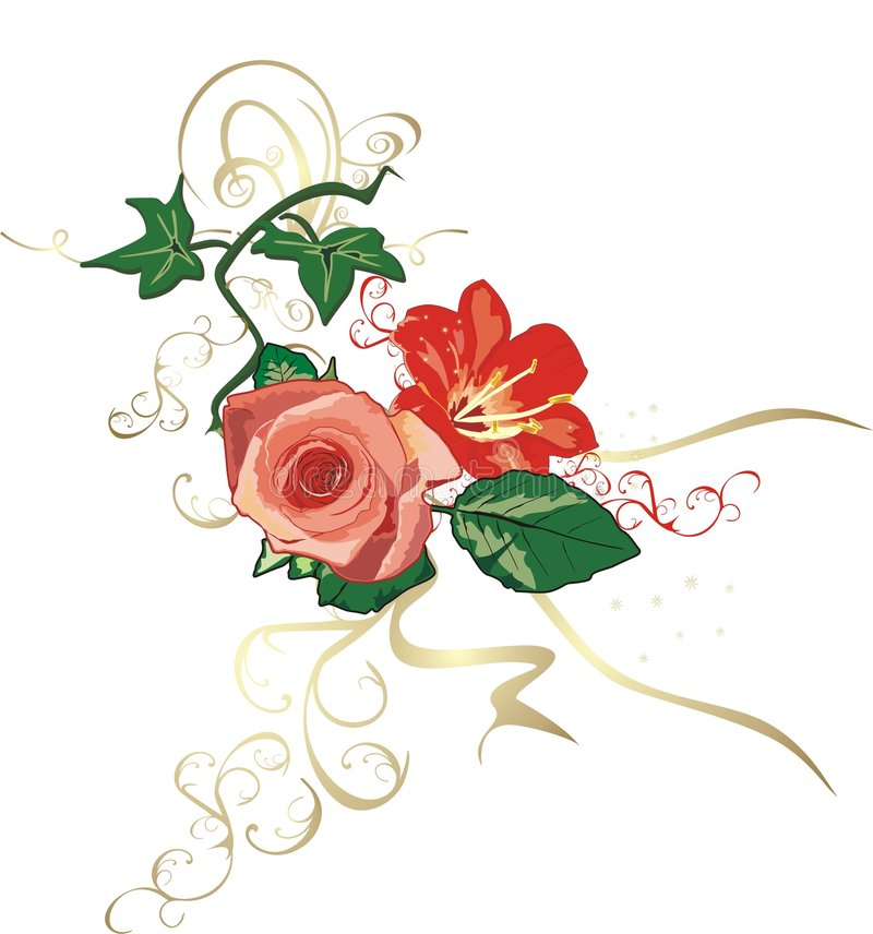 Ivy, lily and rose. Decorative elements vector illustration