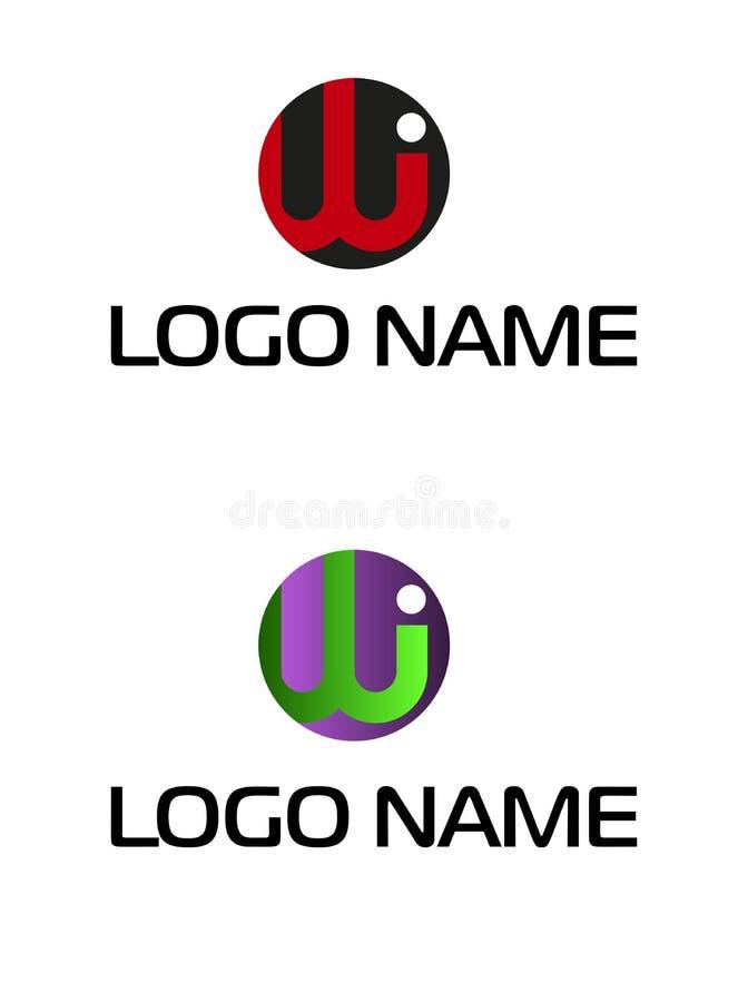 Iw do logotipo da letra inicial Os WI, círculo arredondaram o logotipo lowercase Logotipo ligado empresa da letra dos WI ilustração stock