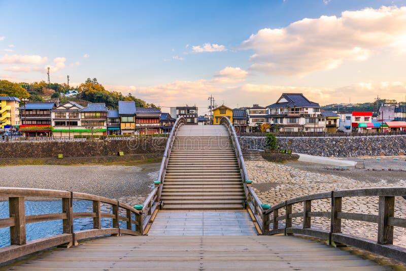 Iwakuni, Giappone al ponte di Kintaikyo fotografia stock libera da diritti