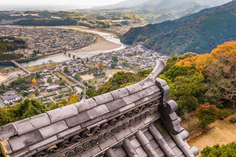 Iwakuni Japan stadhorisont arkivfoto