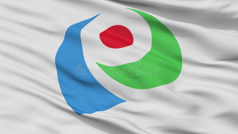 Iwata City Flag, de Prefectuur van Japan, Shizuoka, Close-upmening stock afbeeldingen