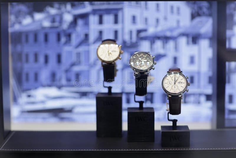 IWC luksusu zegarki na pokazie zdjęcie stock