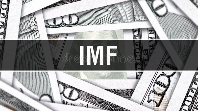 IWF-Nahaufnahme-Konzept Amerikanische Dollar des Bargeld-, Wiedergabe 3D IWF an der Dollar-Banknote Finanz-USA-Geldbanknote Werbu stock abbildung