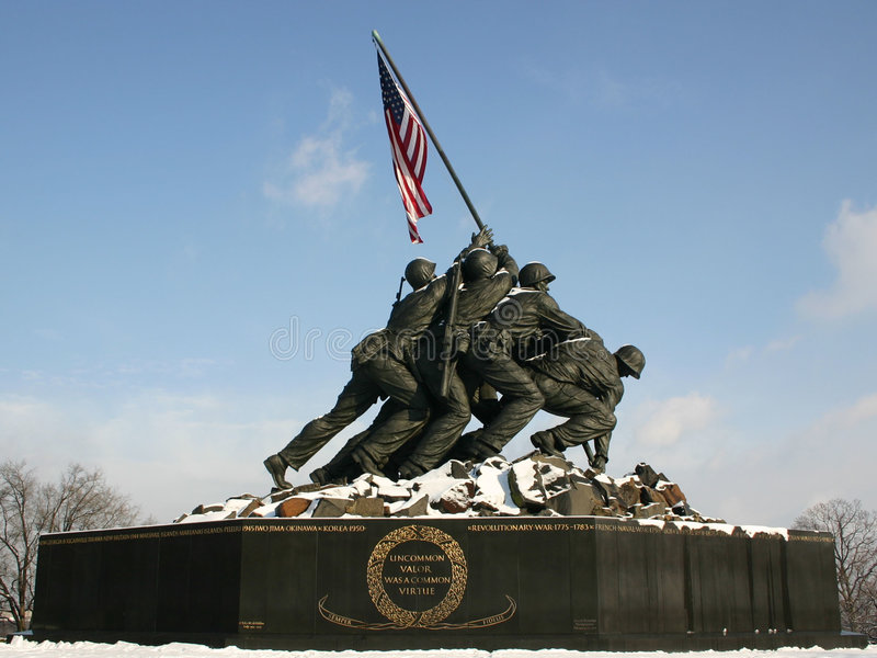 Iwo Jima Memorial with Snow stock photos