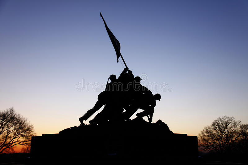 Iwo Jima Memorial Before Sunrise. A view of the Iwo Jima Memorial in Arlington, Virginia just before sunrise stock images