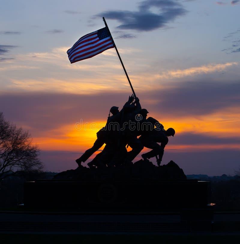 Iwo Jima Memorial sunrise silhouette royalty free stock photo