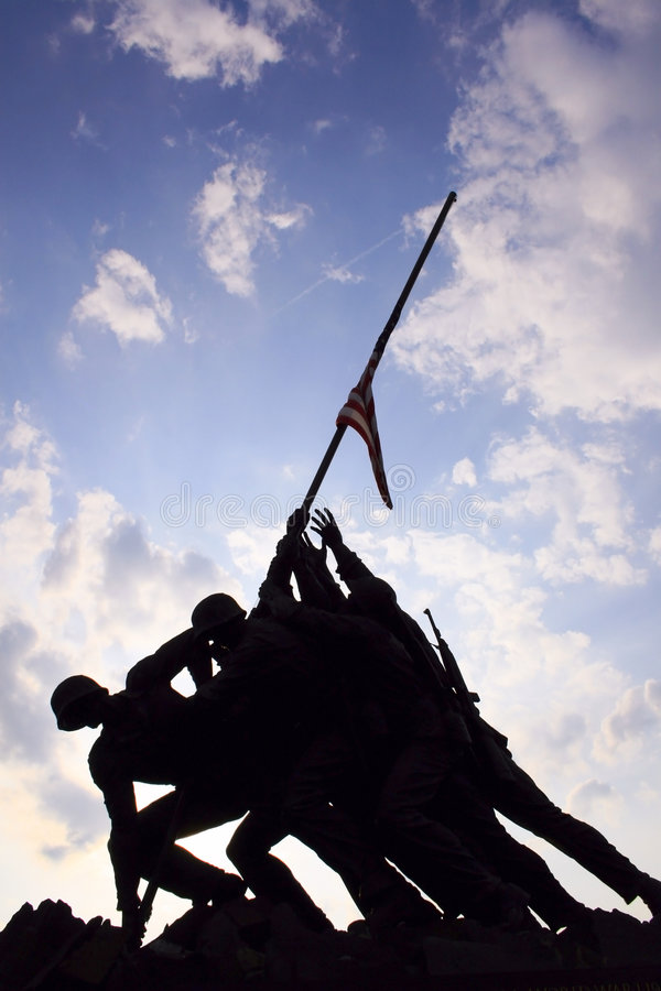 Iwo Jima War memorial. A sunset view of the Iwo Jima War Memorial in Washington D.C royalty free stock images