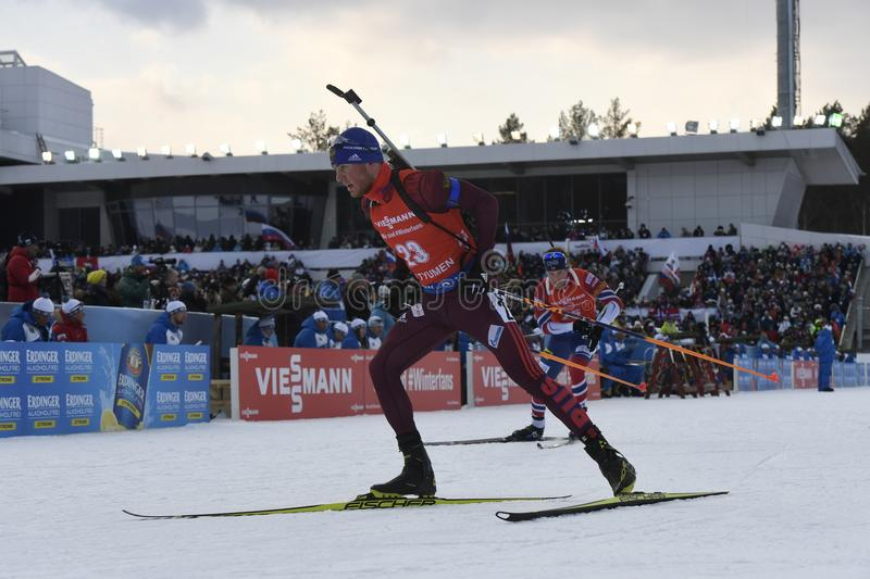 IX final stage of the Biathlon World Cup IBU BMW 2018. Tyumen. Russia. IX final stage of the Biathlon World Cup IBU BMW 2018 men`s race a massive start at 15 km royalty free stock images