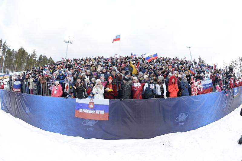 IX final stage of the Biathlon World Cup IBU BMW 2018. Tyumen. Russia. IX final stage of the Biathlon World Cup IBU BMW 2018 men`s race a massive start at 15 km royalty free stock photos