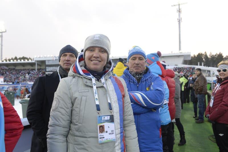 IX final stage of the Biathlon World Cup IBU BMW 2018. Tyumen. Russia. IX final stage of the Biathlon World Cup IBU BMW 2018 men`s race a massive start at 15 km royalty free stock image