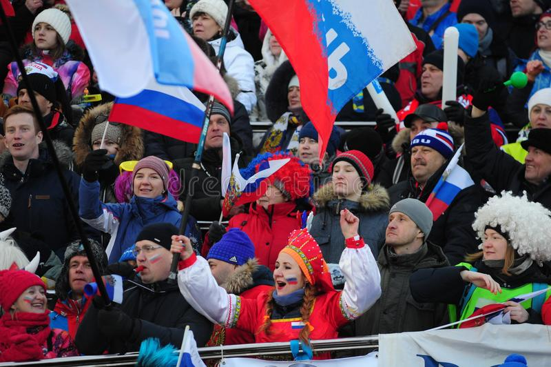 IX final stage of the Biathlon World Cup IBU BMW 2018. Tyumen. Russia. IX final stage of the Biathlon World Cup IBU BMW 2018 men`s race a massive start at 15 km royalty free stock photo