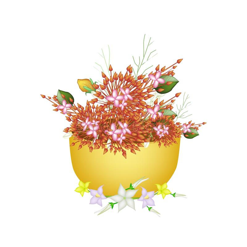 Ixora, Egg Plant Flower and Burmuda Grass in A Bowl stock illustration