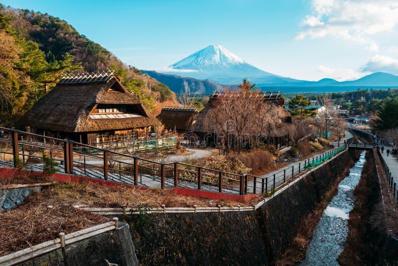 Iyashino Sato Nenba Healing Village with Mt. Fuji in the background, Japan royalty free stock images