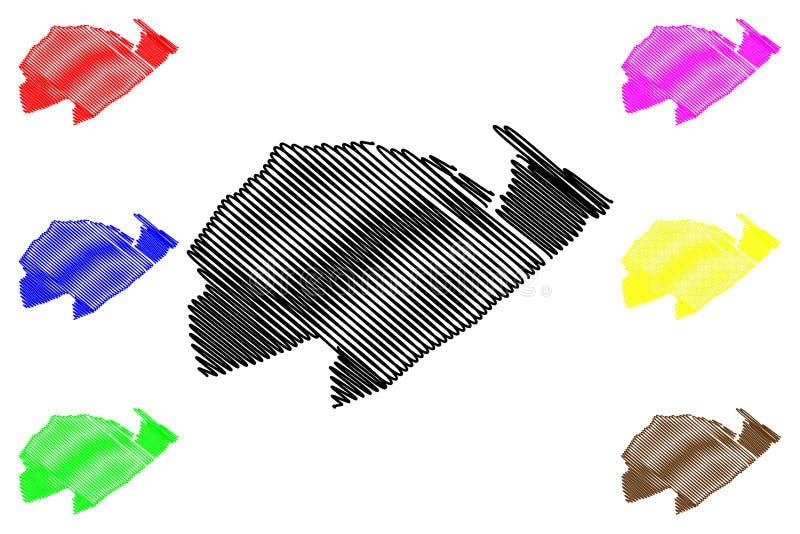 Izabal-Abteilung Republik Guatemala, Abteilungen der Guatemala-Kartenvektorillustration, Gekritzelskizze Izabal-Karte stock abbildung