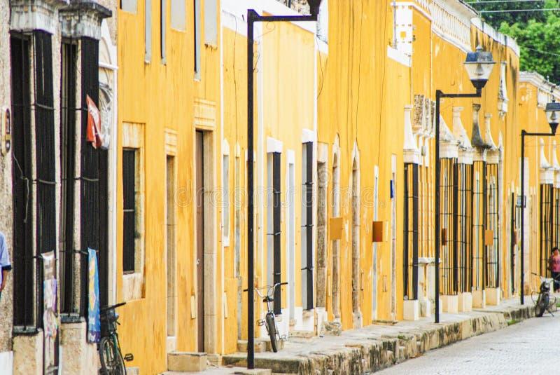 Street view of Izamal the yellow town in Yucatan Mexico. royalty free stock photos