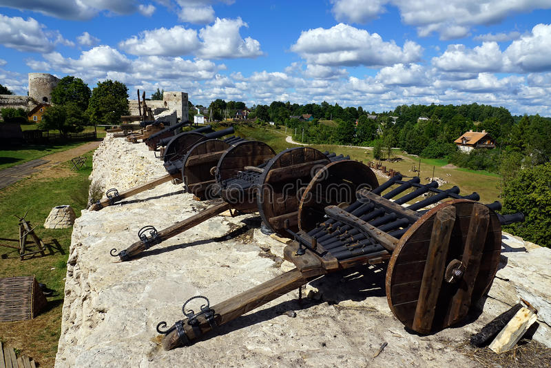Izborsk fästning med kanoner på vallarna, Pskov, Ryssland royaltyfri foto
