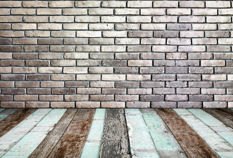 Izbowa perspektywa, Grunge ściana z cegieł i drewno ziemia, zdjęcie stock