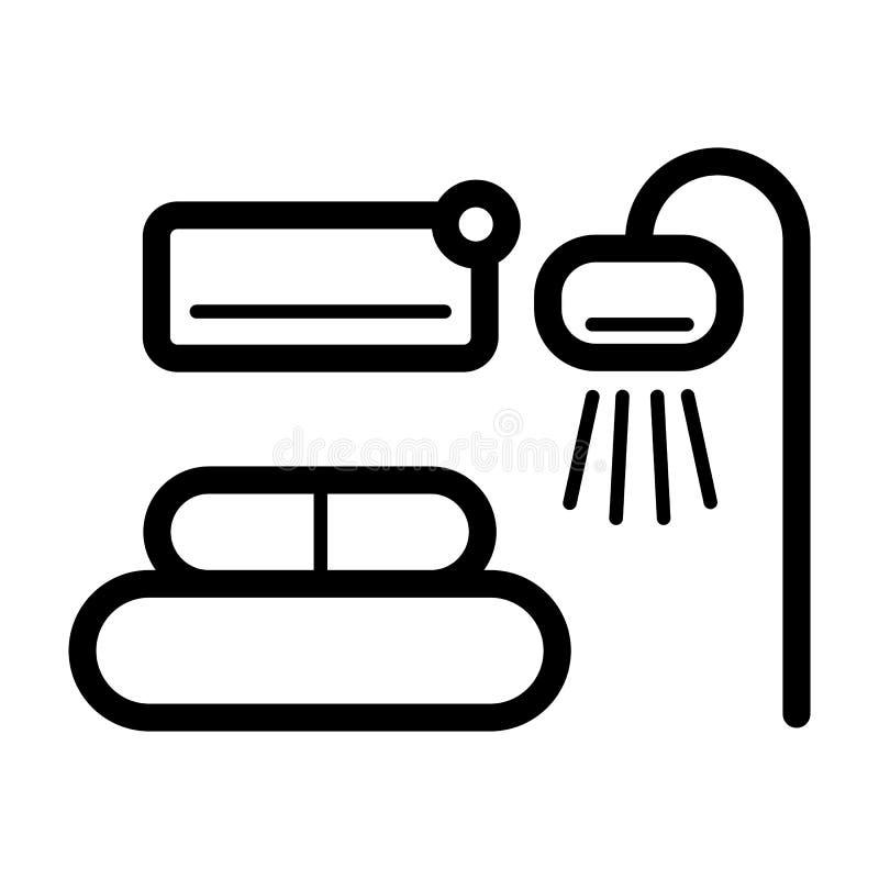Izbowa wewnętrzna prosta wektorowa ikona Czarny i biały ilustracja izbowy meble Kontur liniowa domowa ikona ilustracji
