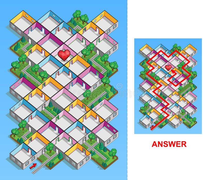 Izbowy labirynt dla dzieciaków (łatwych) ilustracja wektor