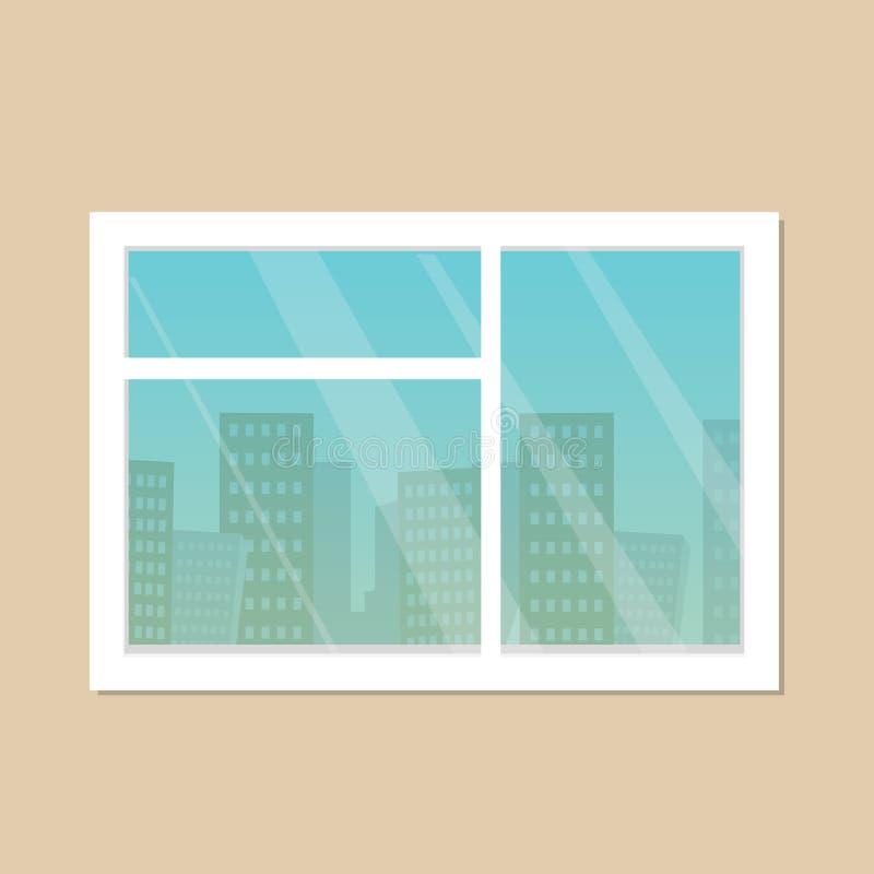Izbowy nadokienny miasta linia horyzontu widok ilustracja wektor