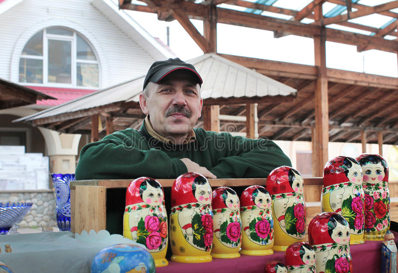 Izmailovo纪念品市场。 莫斯科 免版税库存照片