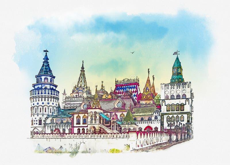 izmailovo kremlin moscow Москва, русская Эскиз акварели бесплатная иллюстрация
