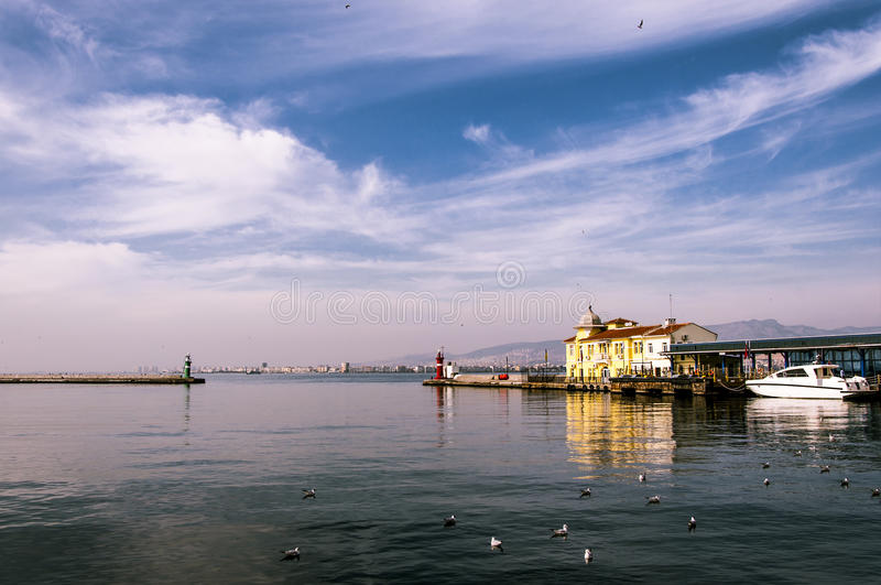 Izmir. Beautifull view in Izmir,Turkey, with the sea and clouds stock images