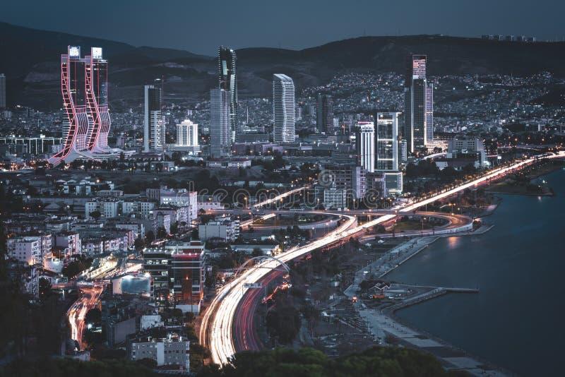 Izmir turkey evening traffic skyscrapers royalty free stock photography