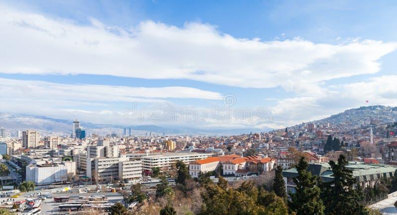 Izmir, Turkey. Panoramic landscape of  Izmir city. Modern buildings and mountains on horizon stock image