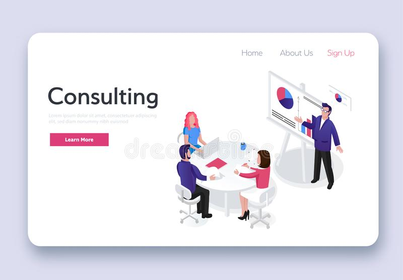 Consulting team. Isometric business stock illustration