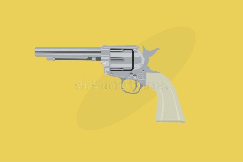 Izolowana wektorowa ilustracja rewolweru kowboja ilustracji