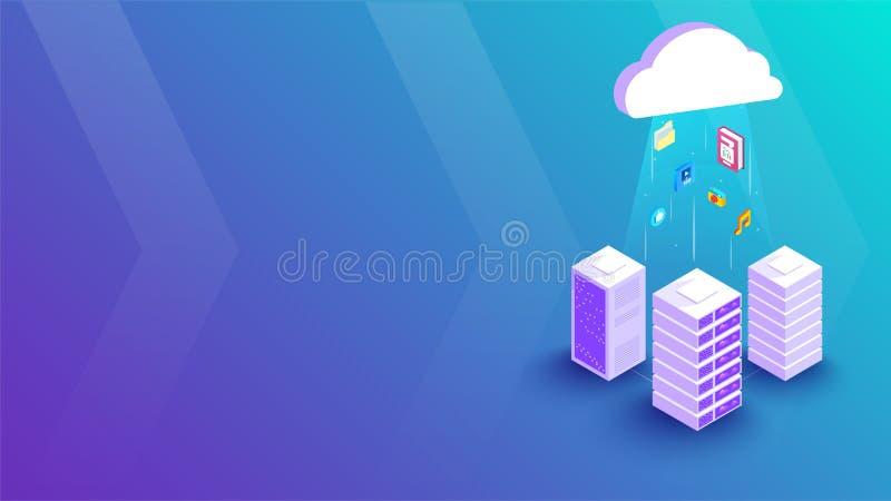 Izometryczna ilustracja trójwymiarowego serwera lokalnego połączonego z serwerem chmury między połyskującymi promieniami, element ilustracji