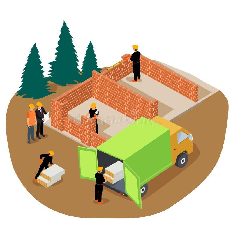 Izometryczna ilustracja wektorowa robotników budujących prywatny dom z cegły i rozładowujących izolację z ciężarówki royalty ilustracja