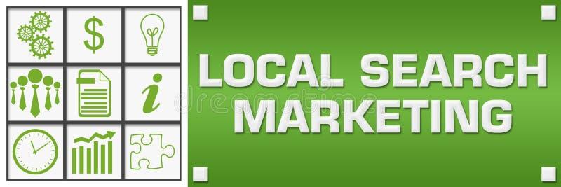 Izquierda verde de la rejilla de los símbolos del negocio del márketing local de la búsqueda ilustración del vector