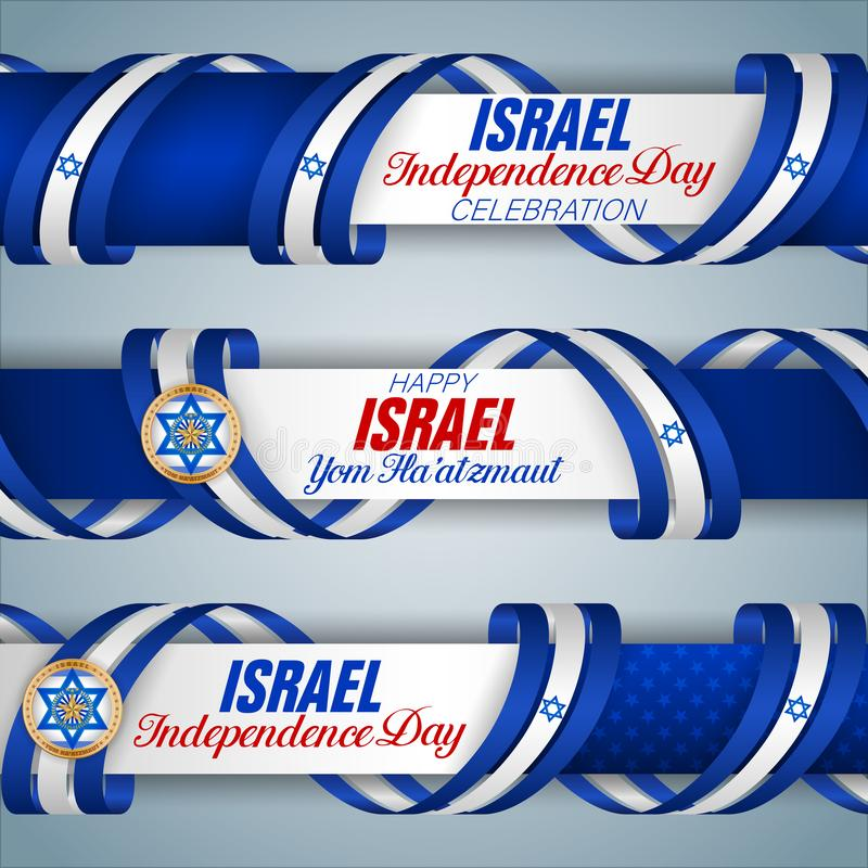 Izrael, świętowanie dzień niepodległości, sieć sztandary royalty ilustracja