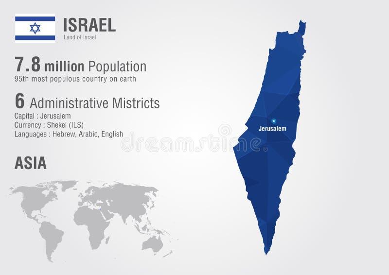 Izrael światowa mapa z piksla diamentu teksturą ilustracja wektor