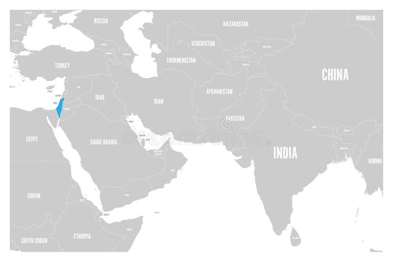 Izrael błękit zaznaczający w politycznej mapie Południowa Azja i Środkowy Wschód Prosta płaska wektorowa mapa ilustracja wektor