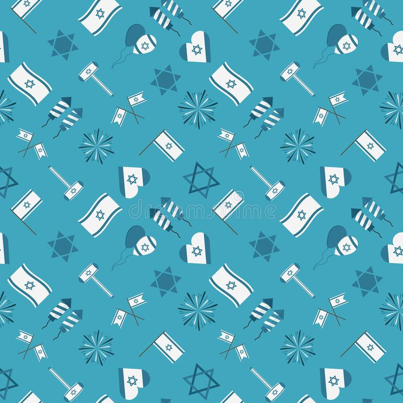 Izrael dnia niepodległości projekta wakacyjnych płaskich ikon bezszwowy patte ilustracja wektor