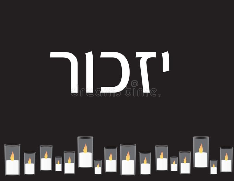 Izrael dnia pamięci sztandar Hebrajski tekst IZKOR i Pamiątkowe świeczki na czarnym tle royalty ilustracja