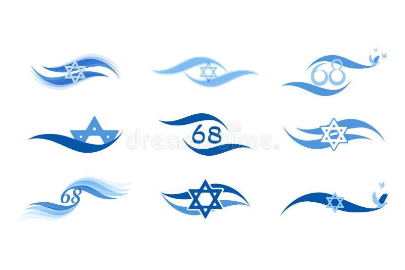Izrael dzień niepodległości i abstrakt chorągwiane ikony royalty ilustracja