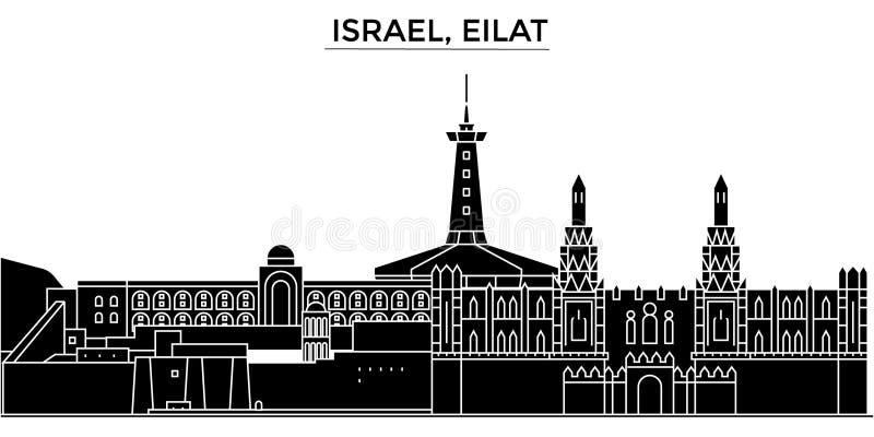Izrael, Eilat architektury miasto wektorowa linia horyzontu, podróż pejzaż miejski z punktami zwrotnymi, budynki, odosobneni wido royalty ilustracja
