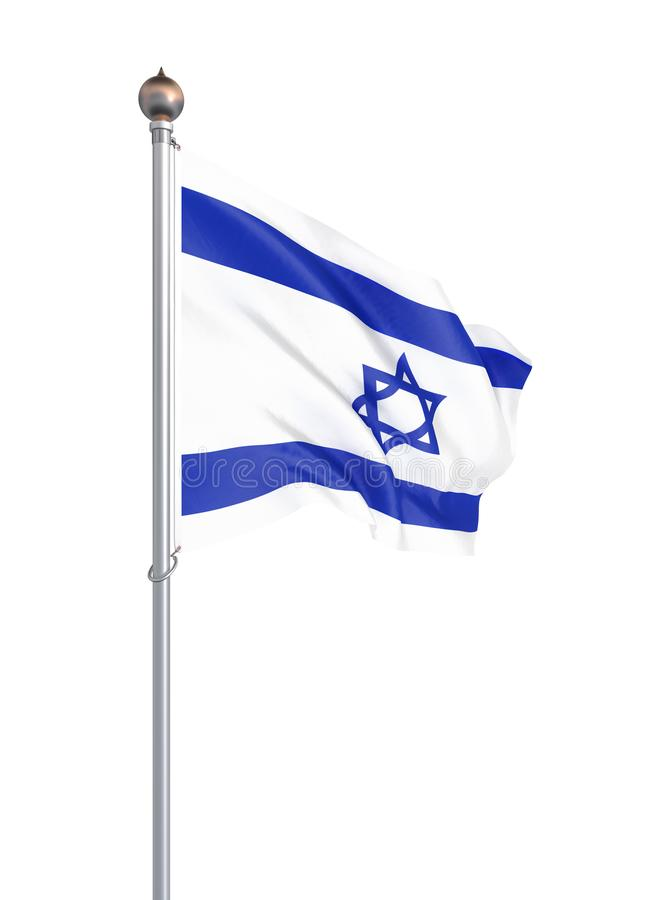 Izrael flaga dmuchanie w wiatrze t?o szczeg 3d rendering, fala sztuka rysuj?cy r?ki ilustracyjny n natury ure Odizolowywaj?cy na  ilustracja wektor
