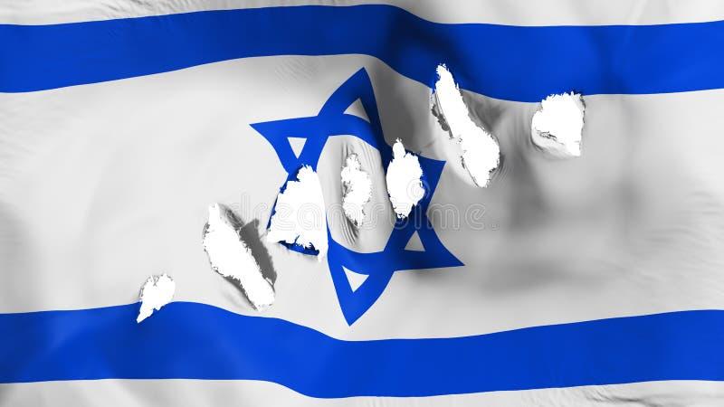 Izrael flaga dziurkująca, dziura po kuli ilustracja wektor