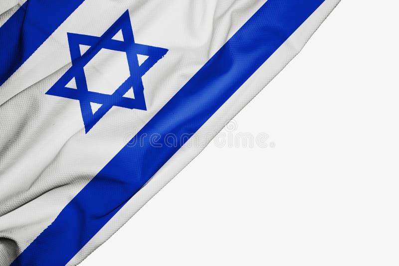 Izrael flaga tkanina z copyspace dla tw?j teksta na bia?ym tle royalty ilustracja