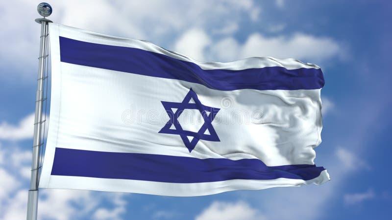 Izrael flaga w niebieskim niebie royalty ilustracja