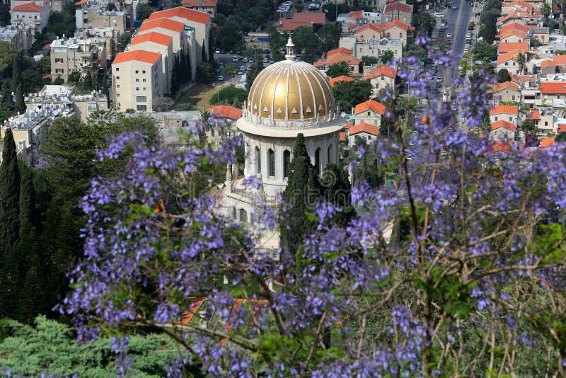 Izrael haiku Bahai ogródy Bahai świątynia Góra Carmel zdjęcia stock