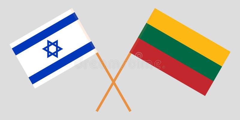 Izrael i Lithuania Izraelity i litwinu flagi Oficjalni kolory Poprawna proporcja wektor royalty ilustracja