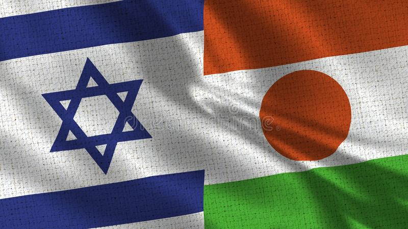 Izrael i Niger flaga - Dwa flaga Wpólnie zdjęcia stock