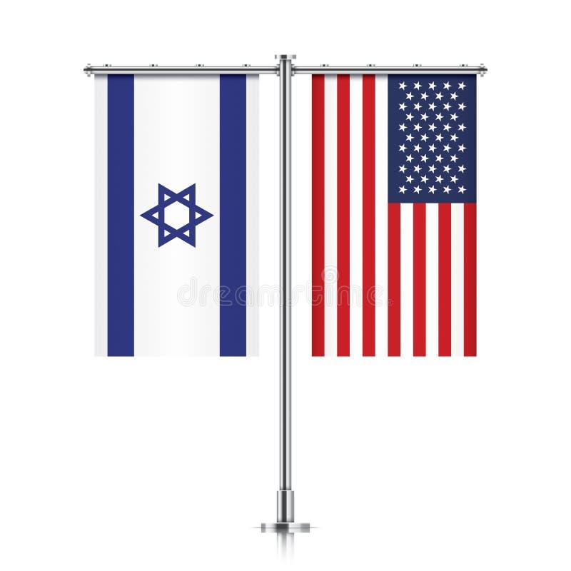 Izrael i usa flaga wiszące wpólnie ilustracji