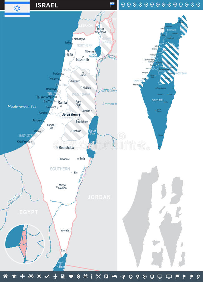 Izrael - infographic mapy i flaga ilustracja ilustracji